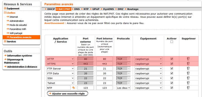 Interface de gestion du ports forwarding d'une livebox.