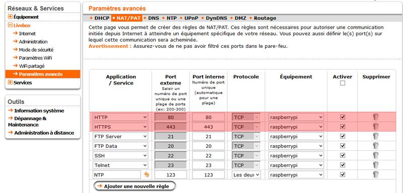 Interface de gestion du ports forwarding d'une livebox.