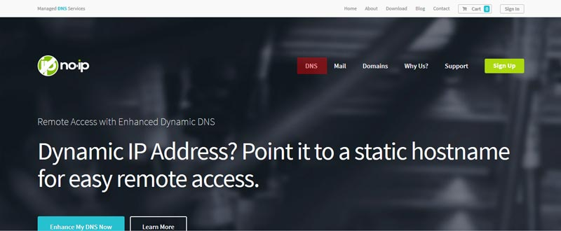 Capture d'écran du site noip.com, qui permet de mettre en place un DynDNS