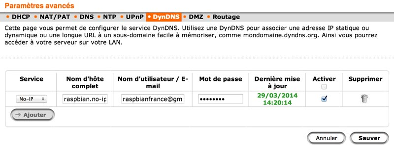 Configuration du DynDNS sur une box Orange.