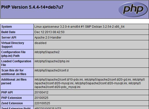 Capturing a phpinfo from a server under Raspbian.