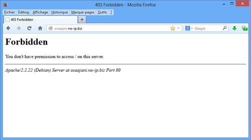 Screenshot d'une erreur 403 par Apache.