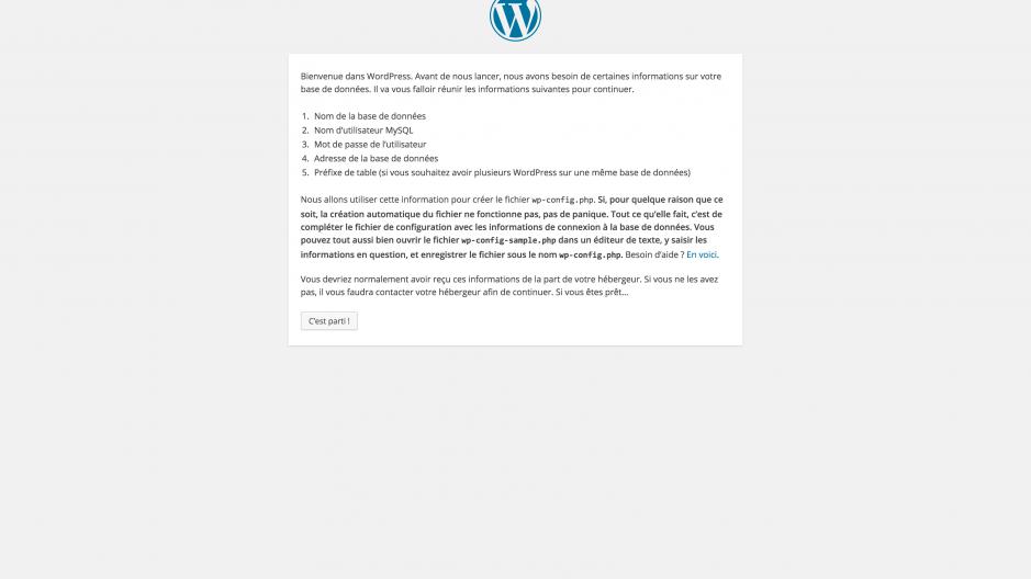 Page de démarrage de wordpress