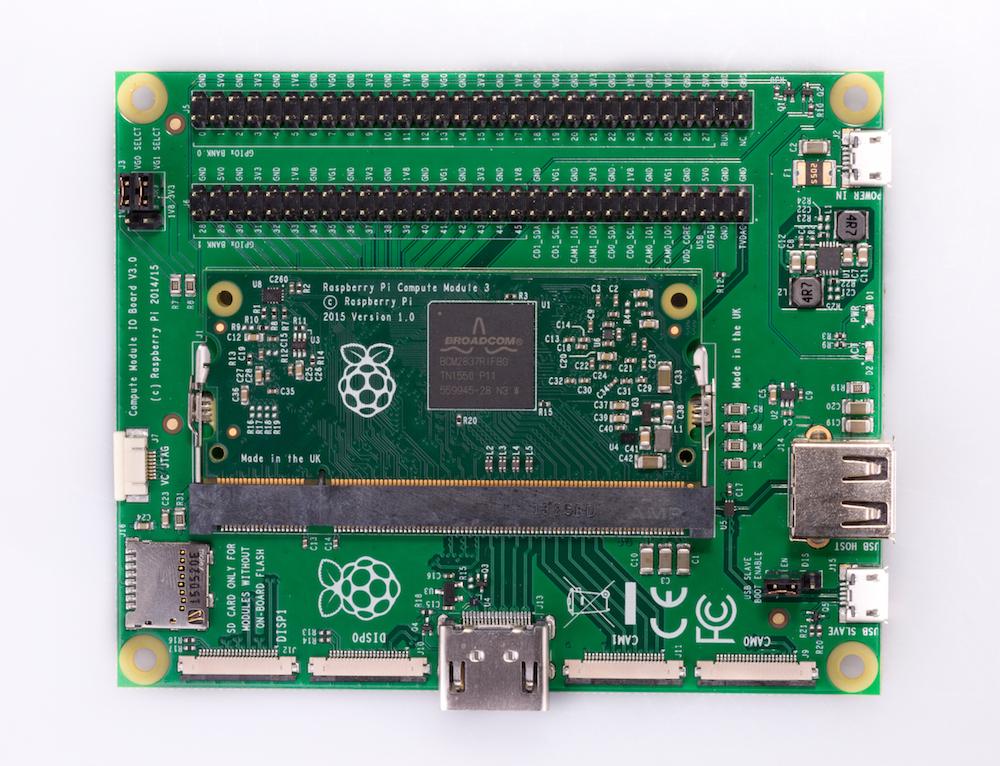 Vue d'une carte mere dédié au Compute Module