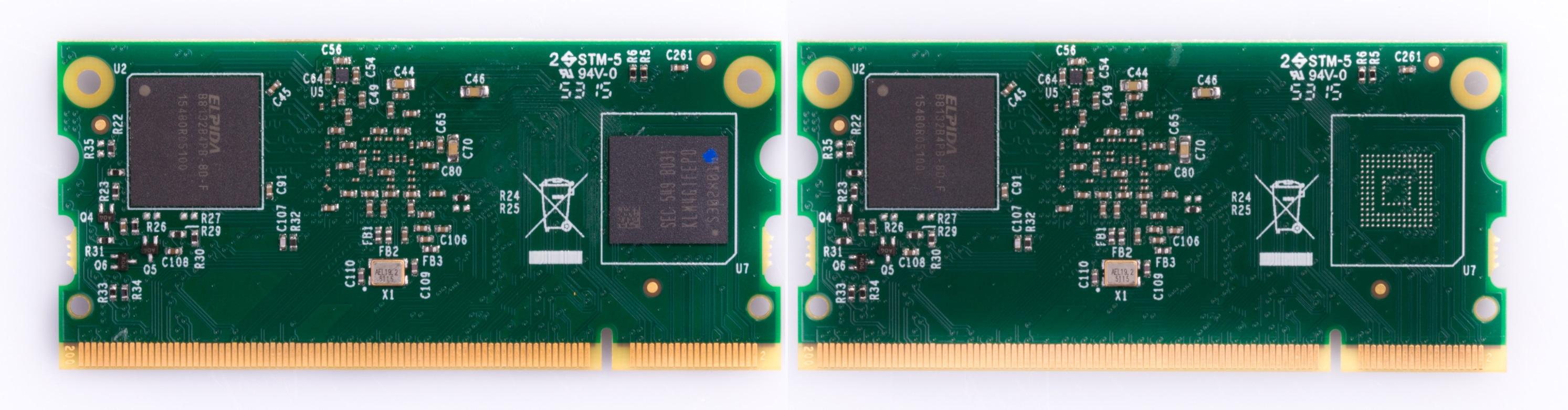 à gauche le compute module 3 standard, à droite la version light