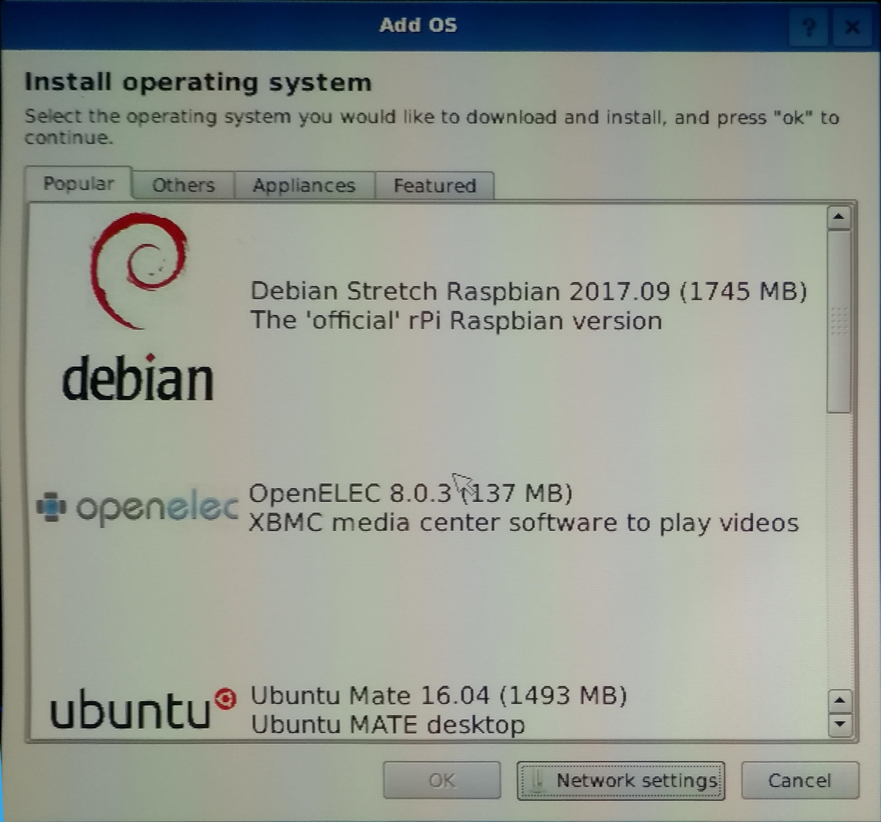 Choix des OS à installer avec BerryBoot