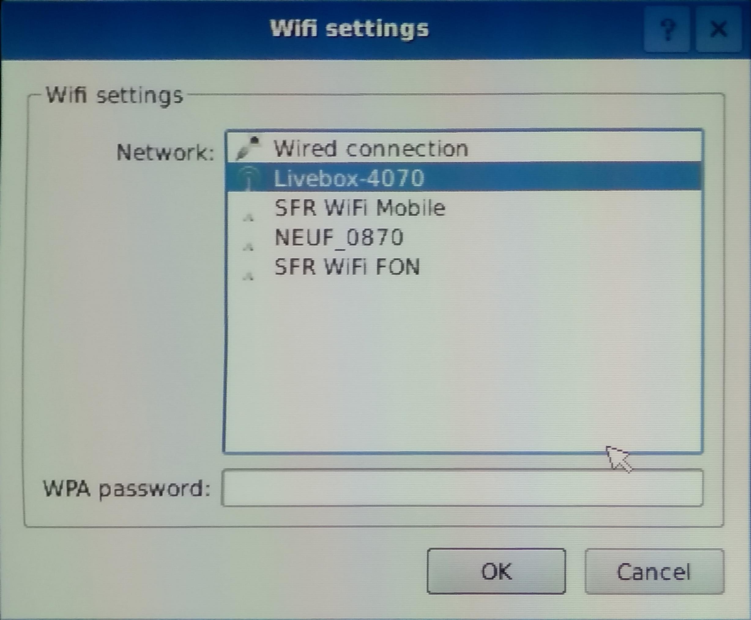 Réglages du Wi-Fi de BerryBoot
