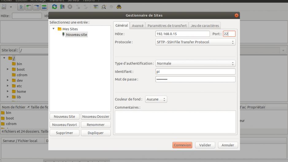 Interface d'ajout d'un site pour le transfert SCP/SFTP.
