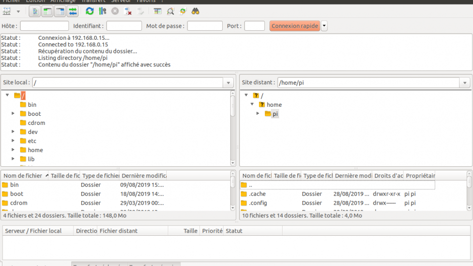 Interface de FileZilla avec connection en SFTP au serveur.