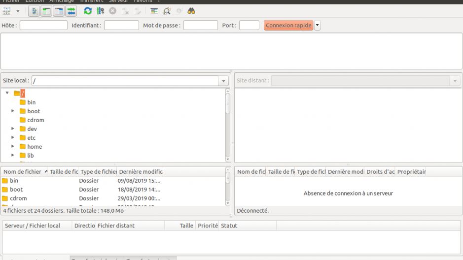 Interface d'accueil de FileZilla