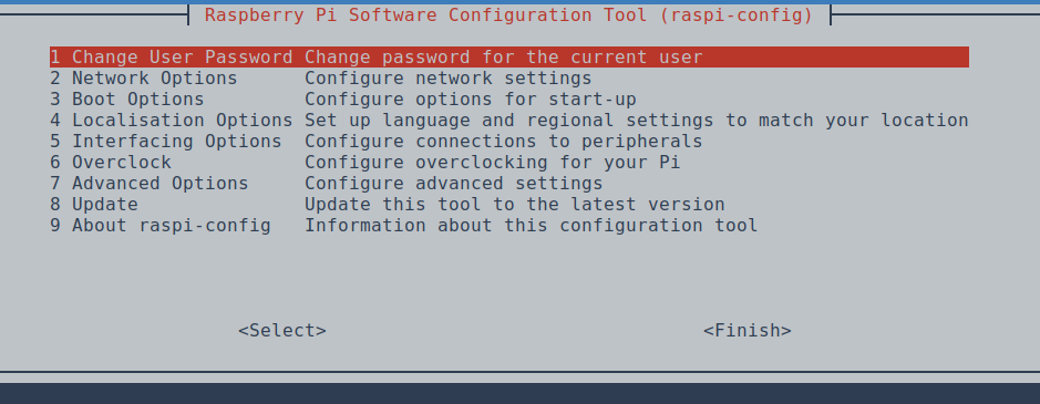 Interface de raspi-config