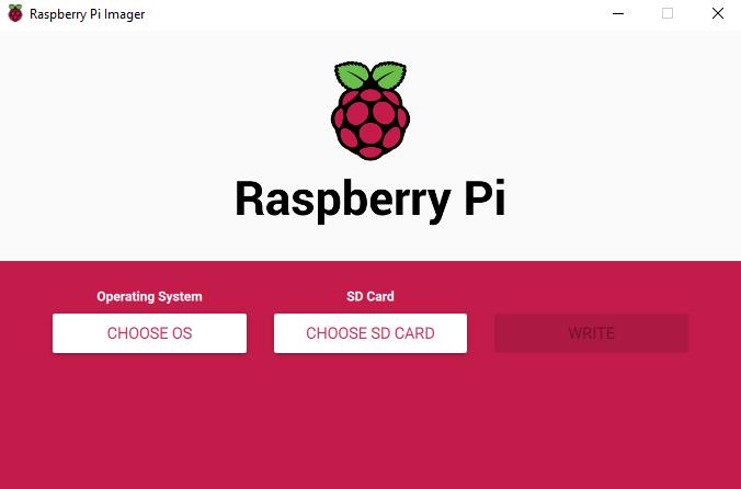 Fenêtre de base de Raspberry Pi Imager.