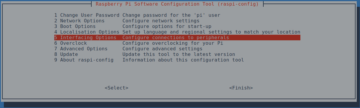 Interfaccia Raspi-config